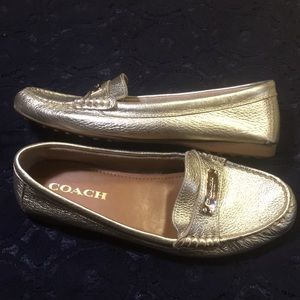 New! Coach Gold Fredrica Loafers size 7.5